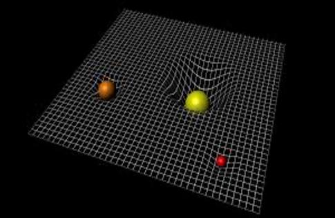 Rappresentazione dell'influenza della gravità sullo spazio-tempo