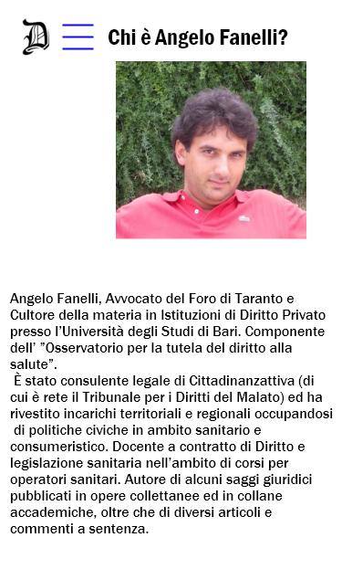 Curriculum dell'avvocato Angelo Fanelli
